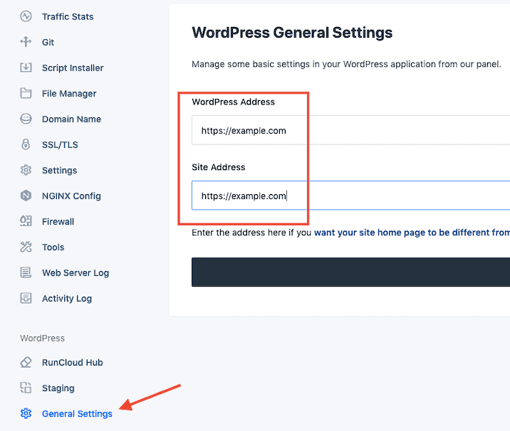 Runcloud WordPress Address Settings