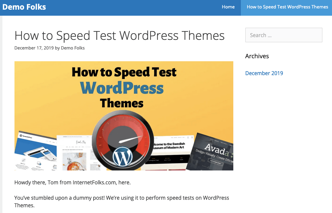 Speed Test Post