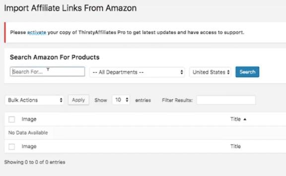 Thirsty Affiliates Pro Amazon Link Importer