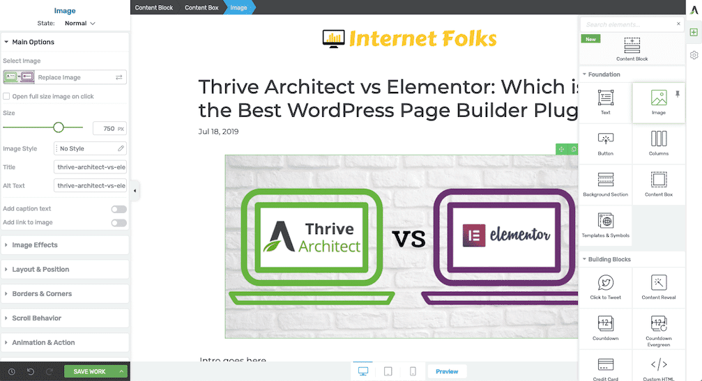 Thrive Architect Frontend Sidebar